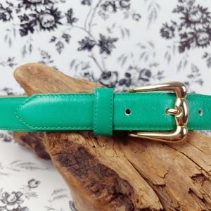 Vtg Talbots jade green leather belt gold buckle S